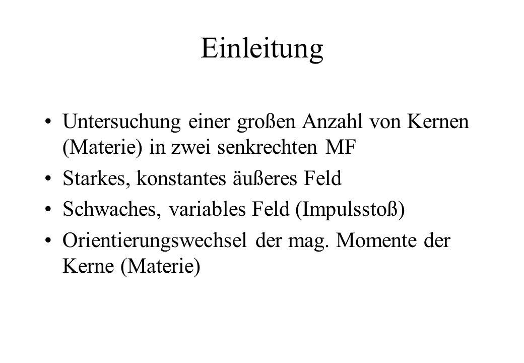 Einleitung Untersuchung einer großen Anzahl von Kernen (Materie) in zwei senkrechten MF. Starkes, konstantes äußeres Feld.