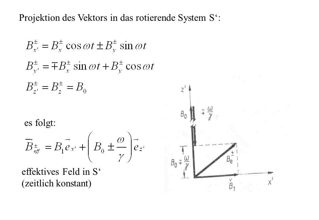 Projektion des Vektors in das rotierende System S':