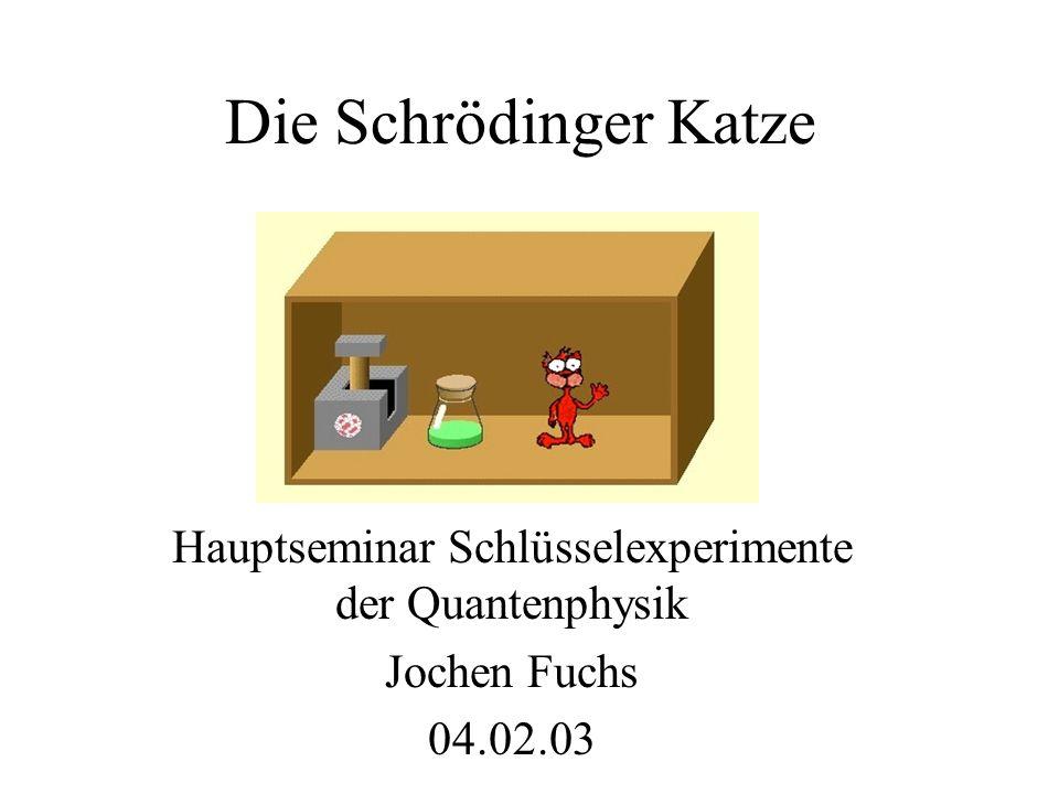 Hauptseminar Schlüsselexperimente der Quantenphysik