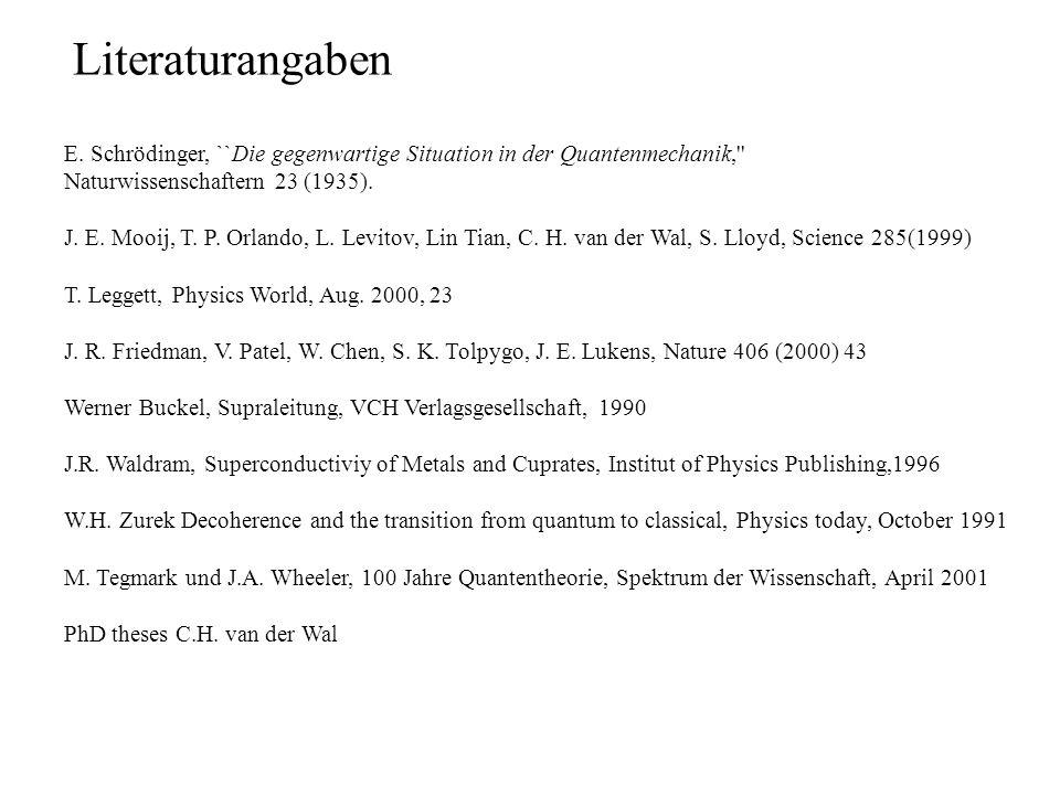 Literaturangaben E. Schrödinger, ``Die gegenwartige Situation in der Quantenmechanik, Naturwissenschaftern 23 (1935).
