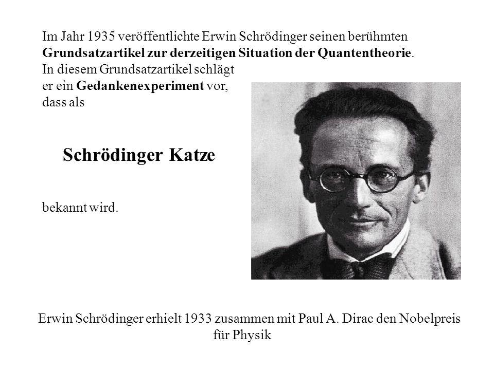 Im Jahr 1935 veröffentlichte Erwin Schrödinger seinen berühmten