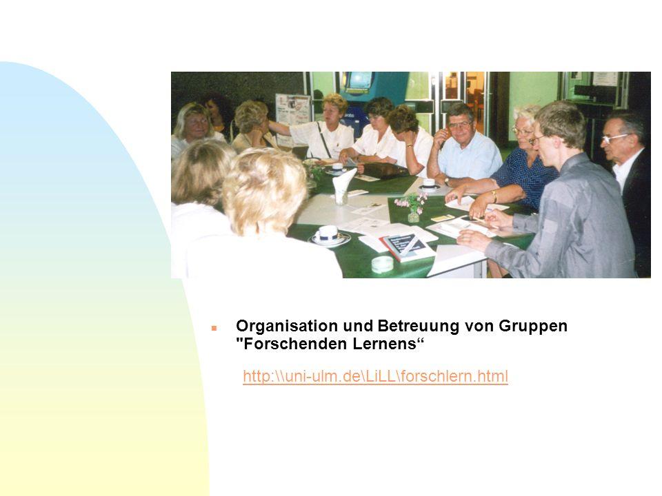 Organisation und Betreuung von Gruppen Forschenden Lernens