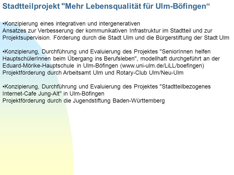 Stadtteilprojekt Mehr Lebensqualität für Ulm-Böfingen