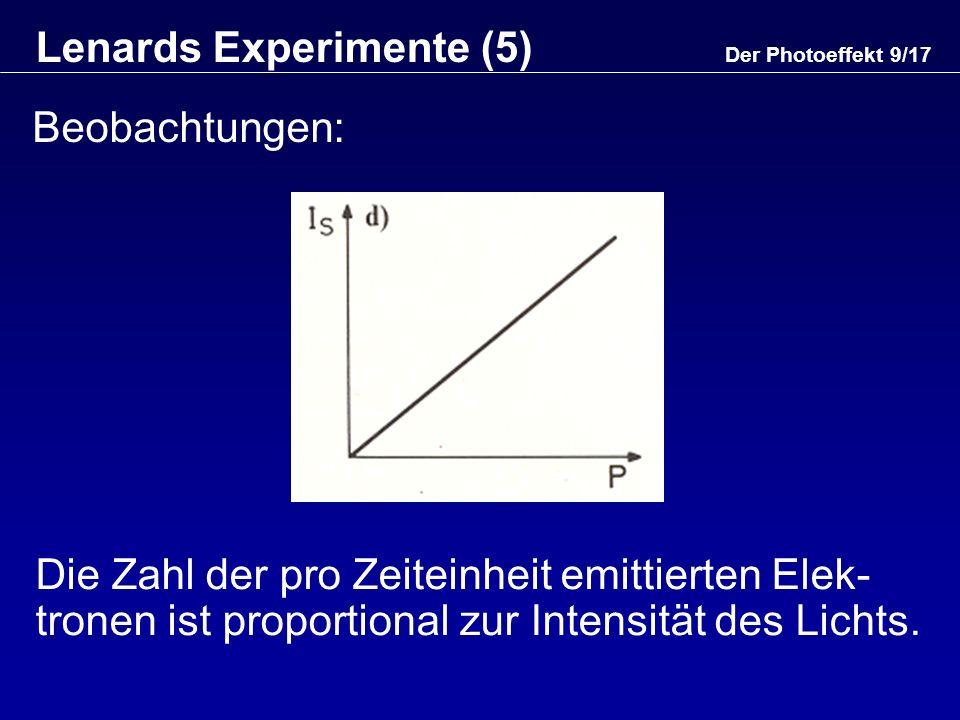 Lenards Experimente (5)