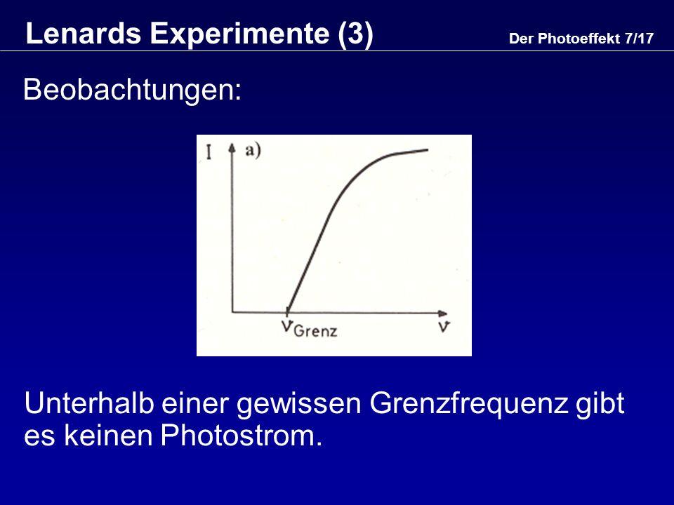 Lenards Experimente (3)