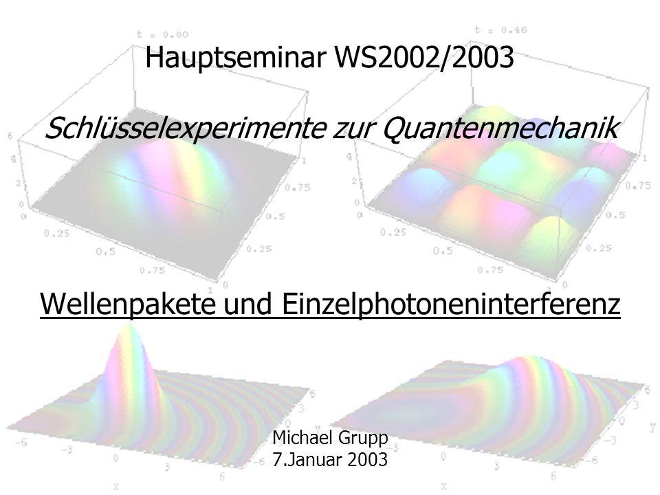 Hauptseminar WS2002/2003 Schlüsselexperimente zur Quantenmechanik Wellenpakete und Einzelphotoneninterferenz Michael Grupp 7.Januar 2003