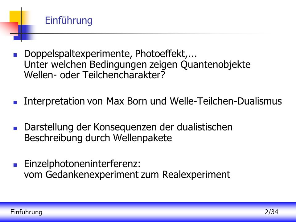 Interpretation von Max Born und Welle-Teilchen-Dualismus
