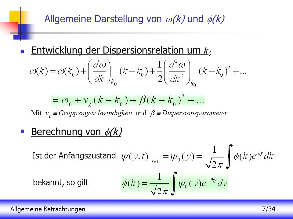 Allgemeine Darstellung von (k) und (k)