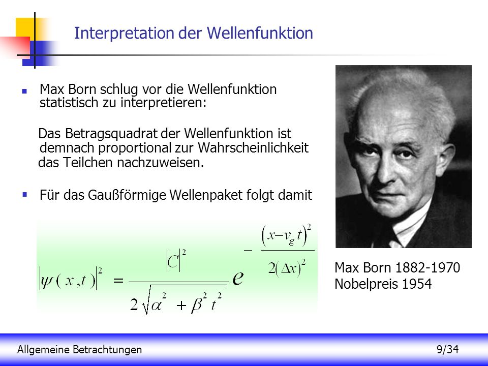Interpretation der Wellenfunktion