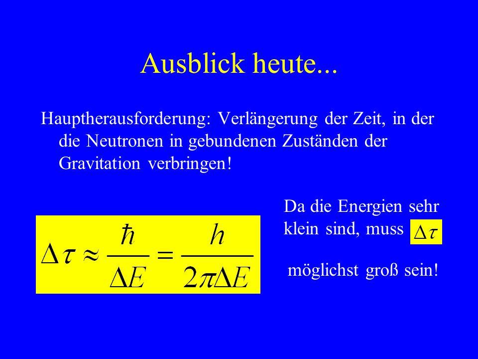 Ausblick heute...Hauptherausforderung: Verlängerung der Zeit, in der die Neutronen in gebundenen Zuständen der Gravitation verbringen!