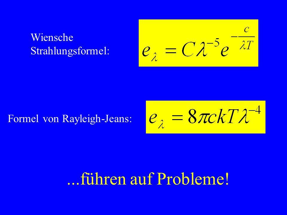 ...führen auf Probleme! Wiensche Strahlungsformel: