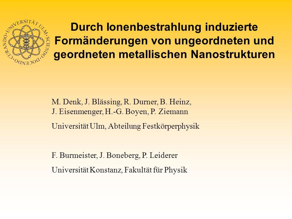 Durch Ionenbestrahlung induzierte Formänderungen von ungeordneten und geordneten metallischen Nanostrukturen