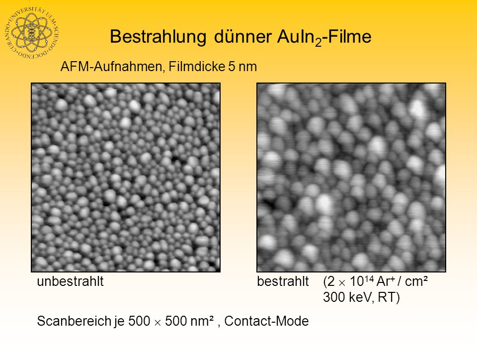 Bestrahlung dünner AuIn2-Filme