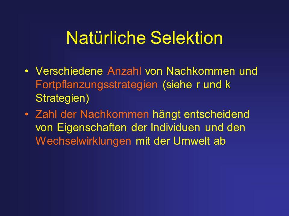Natürliche Selektion Verschiedene Anzahl von Nachkommen und Fortpflanzungsstrategien (siehe r und k Strategien)