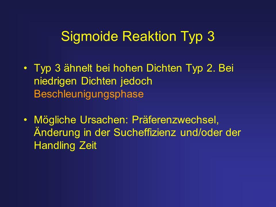 Sigmoide Reaktion Typ 3 Typ 3 ähnelt bei hohen Dichten Typ 2. Bei niedrigen Dichten jedoch Beschleunigungsphase.