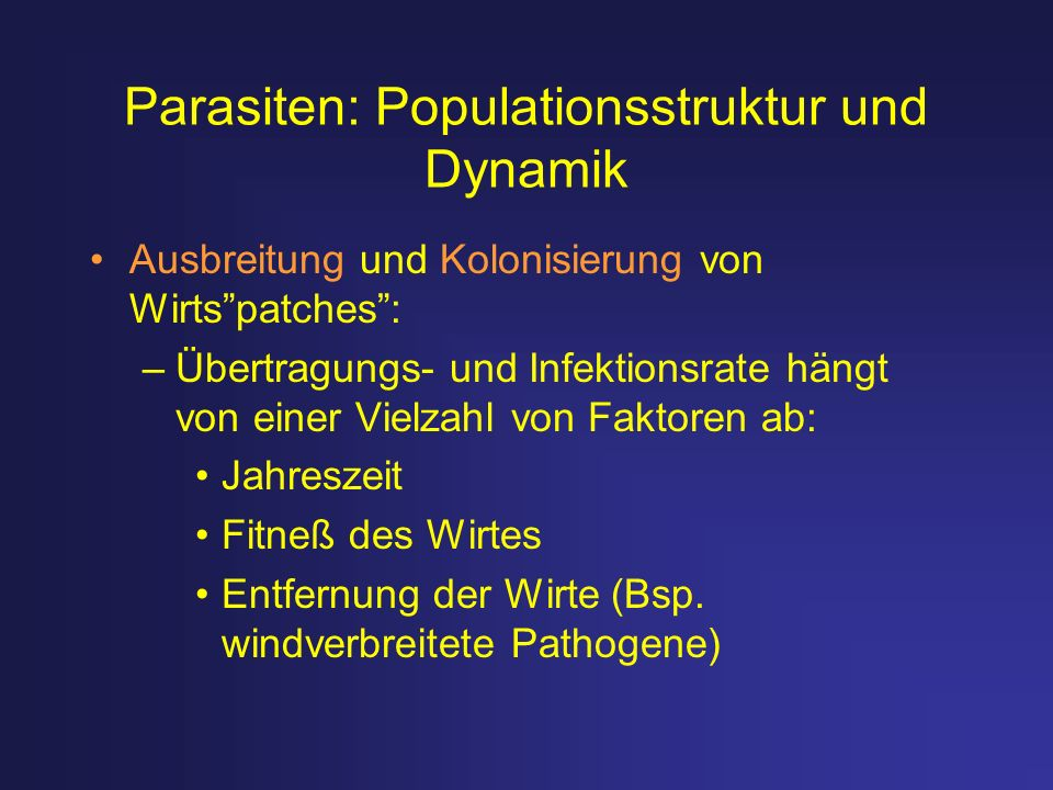 Parasiten: Populationsstruktur und Dynamik