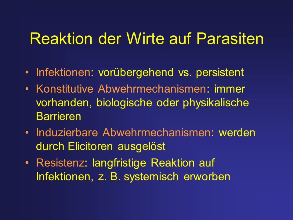 Reaktion der Wirte auf Parasiten