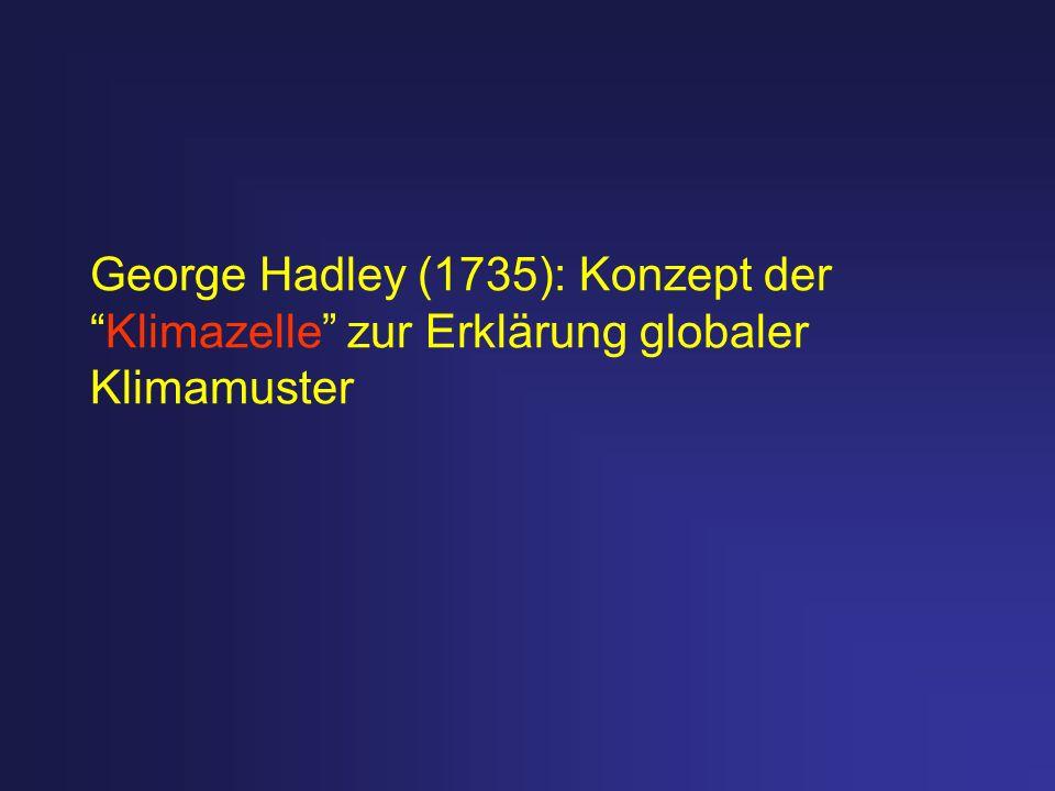 George Hadley (1735): Konzept der Klimazelle zur Erklärung globaler Klimamuster