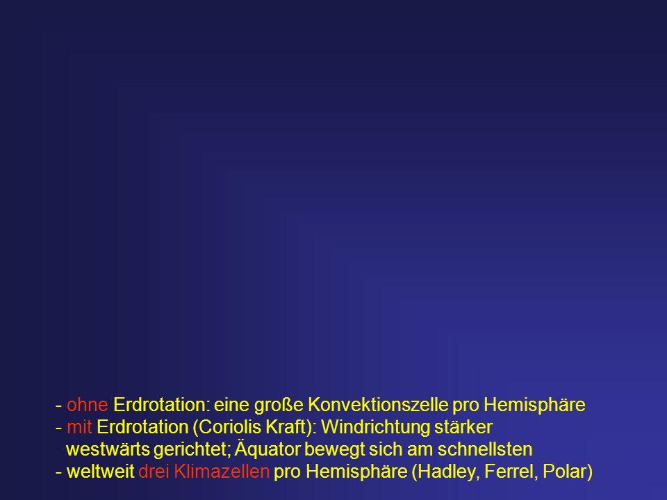 - ohne Erdrotation: eine große Konvektionszelle pro Hemisphäre