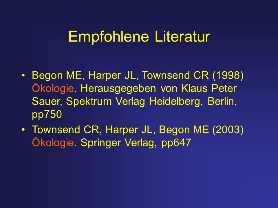 Empfohlene Literatur Begon ME, Harper JL, Townsend CR (1998) Ökologie. Herausgegeben von Klaus Peter Sauer, Spektrum Verlag Heidelberg, Berlin, pp750.