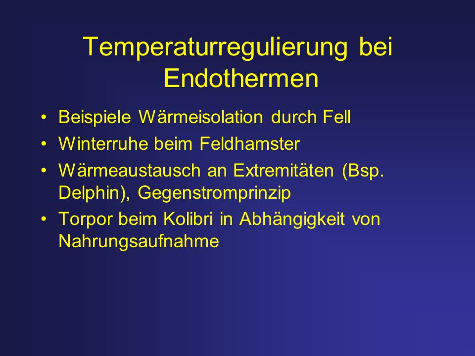 Temperaturregulierung bei Endothermen