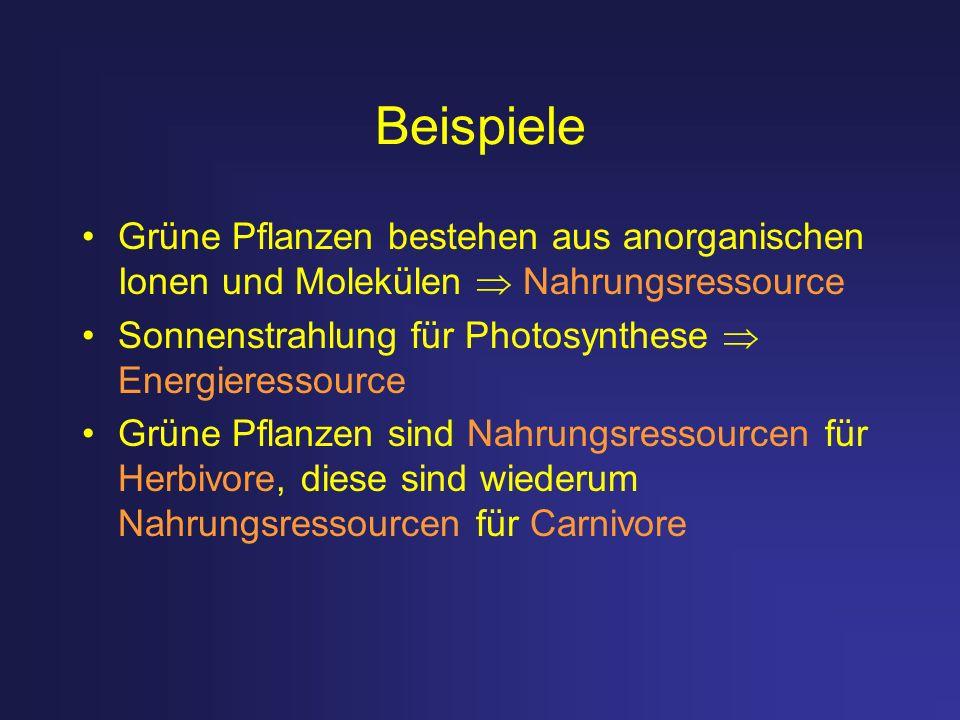 Beispiele Grüne Pflanzen bestehen aus anorganischen Ionen und Molekülen  Nahrungsressource. Sonnenstrahlung für Photosynthese  Energieressource.