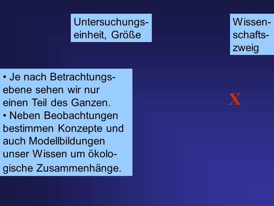X Untersuchungs- einheit, Größe Wissen- schafts- zweig