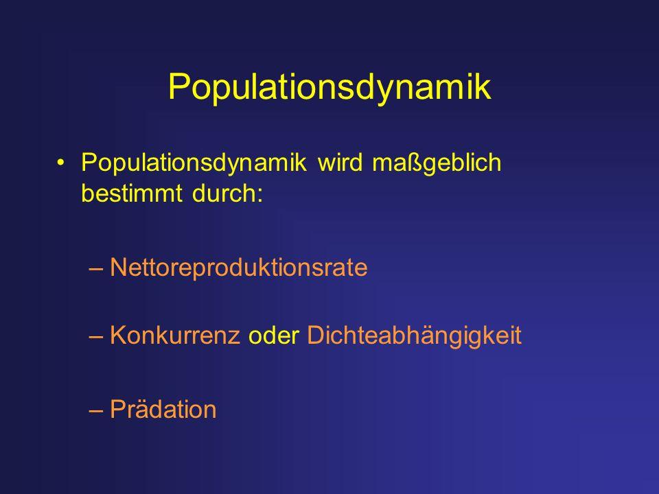 Populationsdynamik Populationsdynamik wird maßgeblich bestimmt durch: