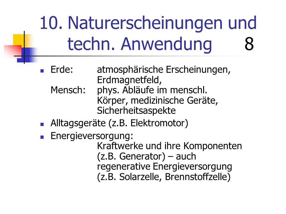 10. Naturerscheinungen und techn. Anwendung 8