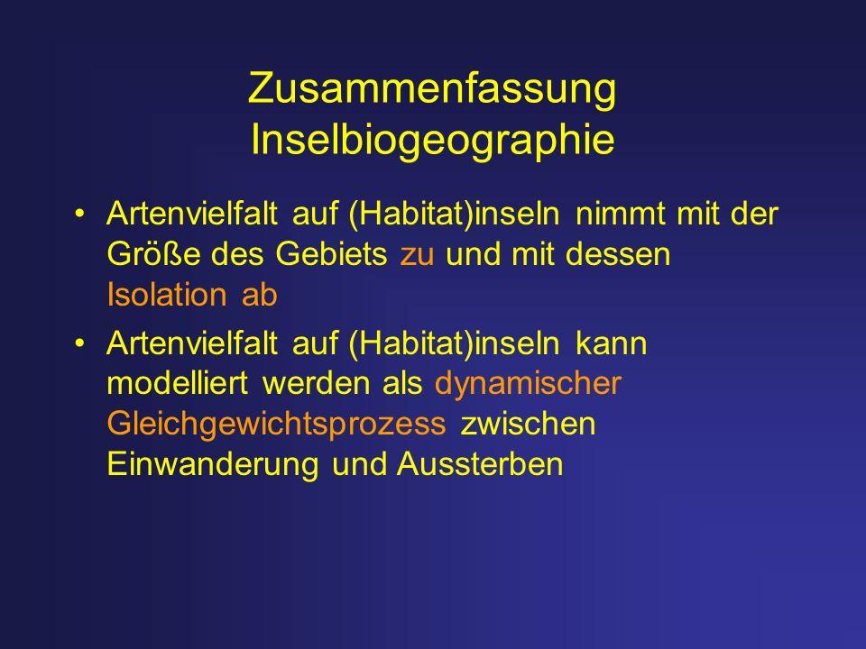 Zusammenfassung Inselbiogeographie