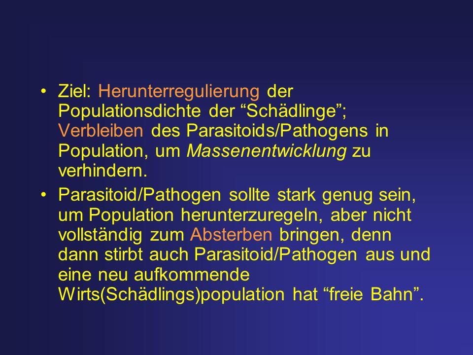 Ziel: Herunterregulierung der Populationsdichte der Schädlinge ; Verbleiben des Parasitoids/Pathogens in Population, um Massenentwicklung zu verhindern.