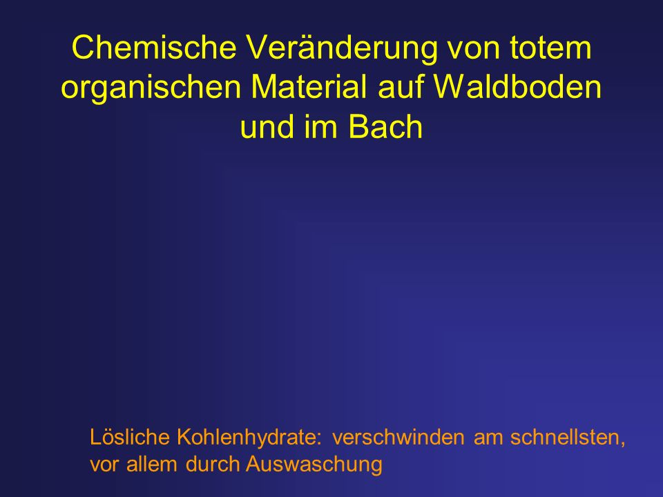 Chemische Veränderung von totem organischen Material auf Waldboden und im Bach