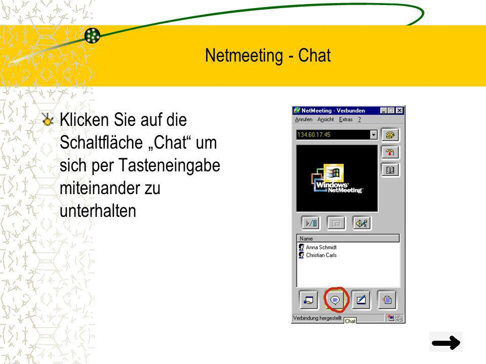 """Netmeeting - Chat Klicken Sie auf die Schaltfläche """"Chat um sich per Tasteneingabe miteinander zu unterhalten."""
