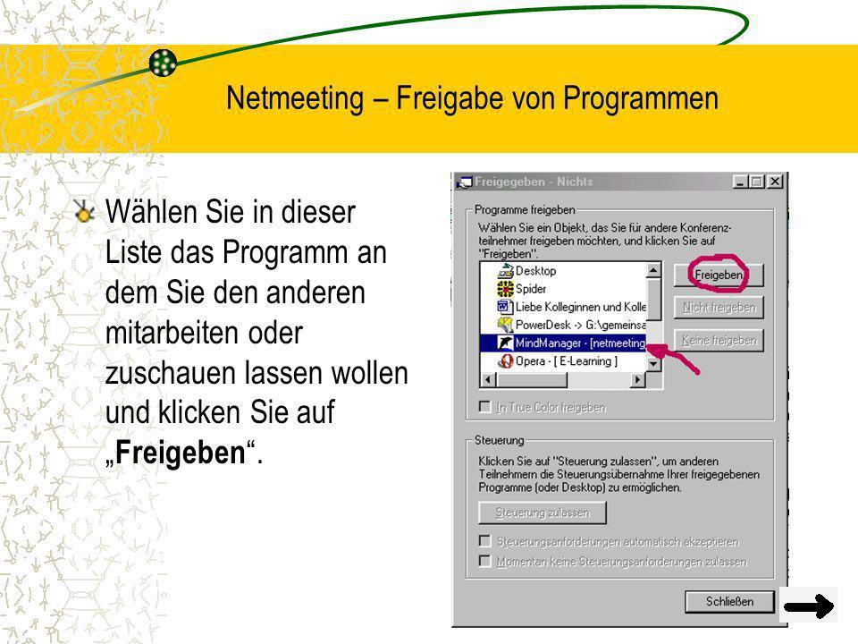 Netmeeting – Freigabe von Programmen
