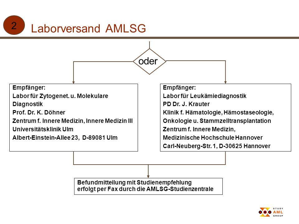 Laborversand AMLSG 2 oder Empfänger: