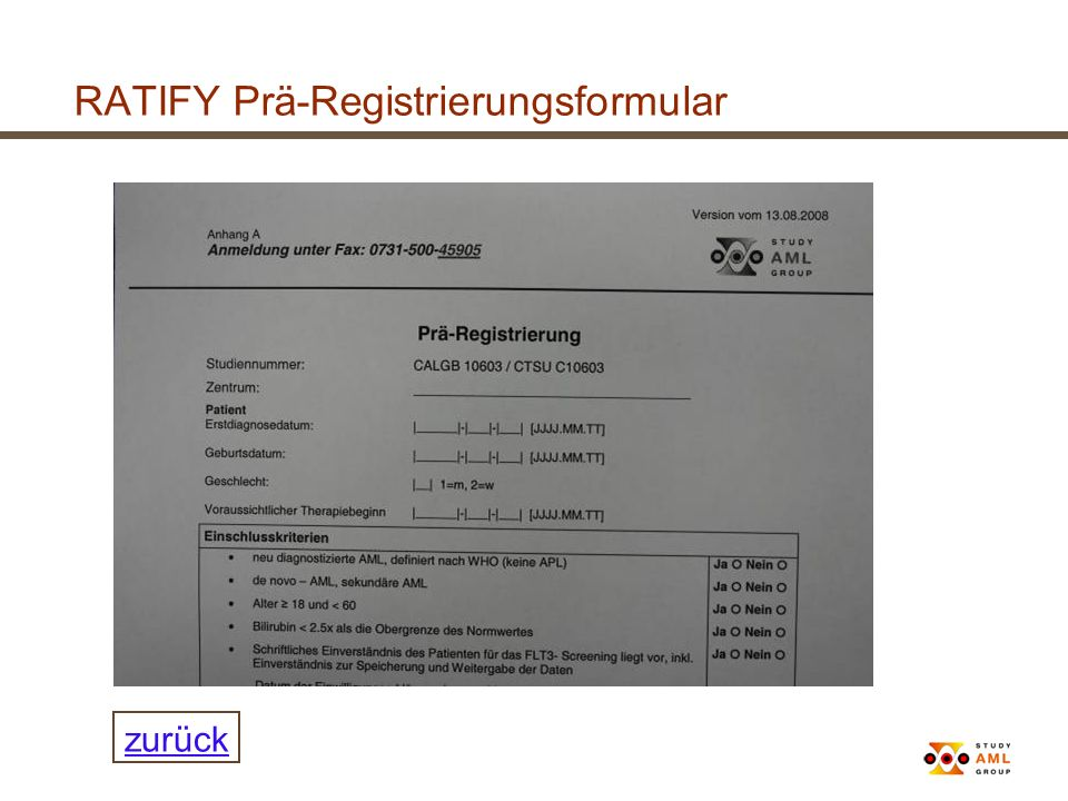RATIFY Prä-Registrierungsformular