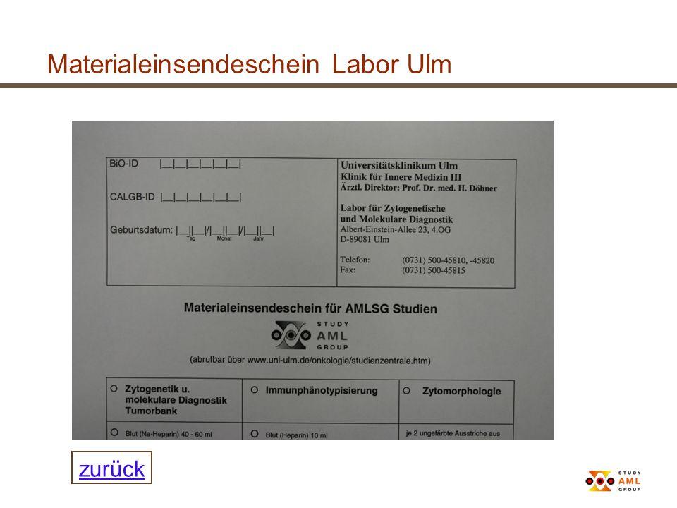 Materialeinsendeschein Labor Ulm