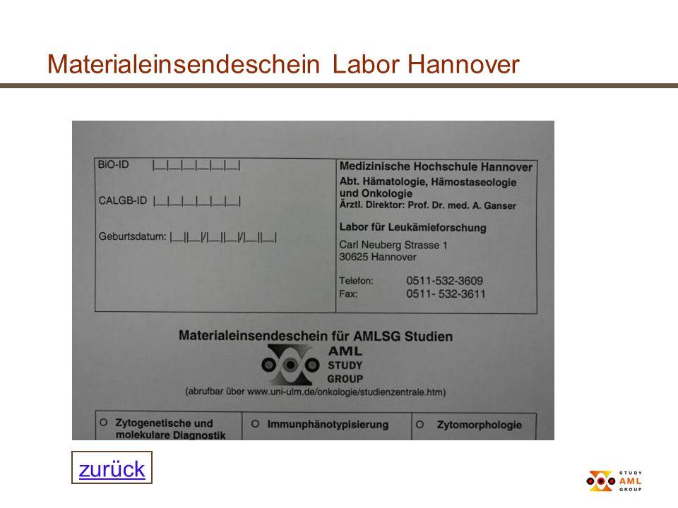 Materialeinsendeschein Labor Hannover