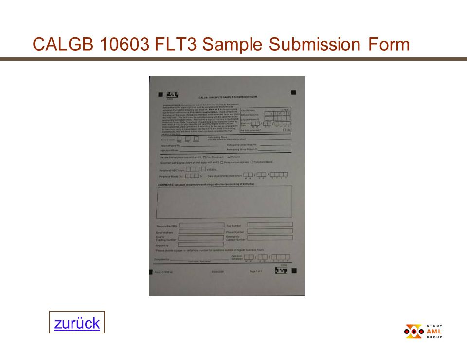 CALGB 10603 FLT3 Sample Submission Form
