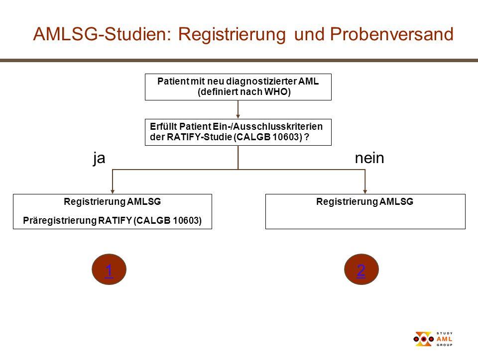 AMLSG-Studien: Registrierung und Probenversand