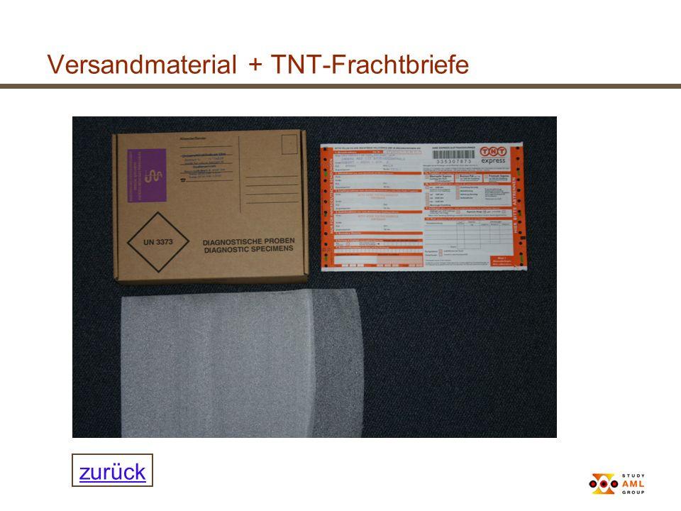Versandmaterial + TNT-Frachtbriefe
