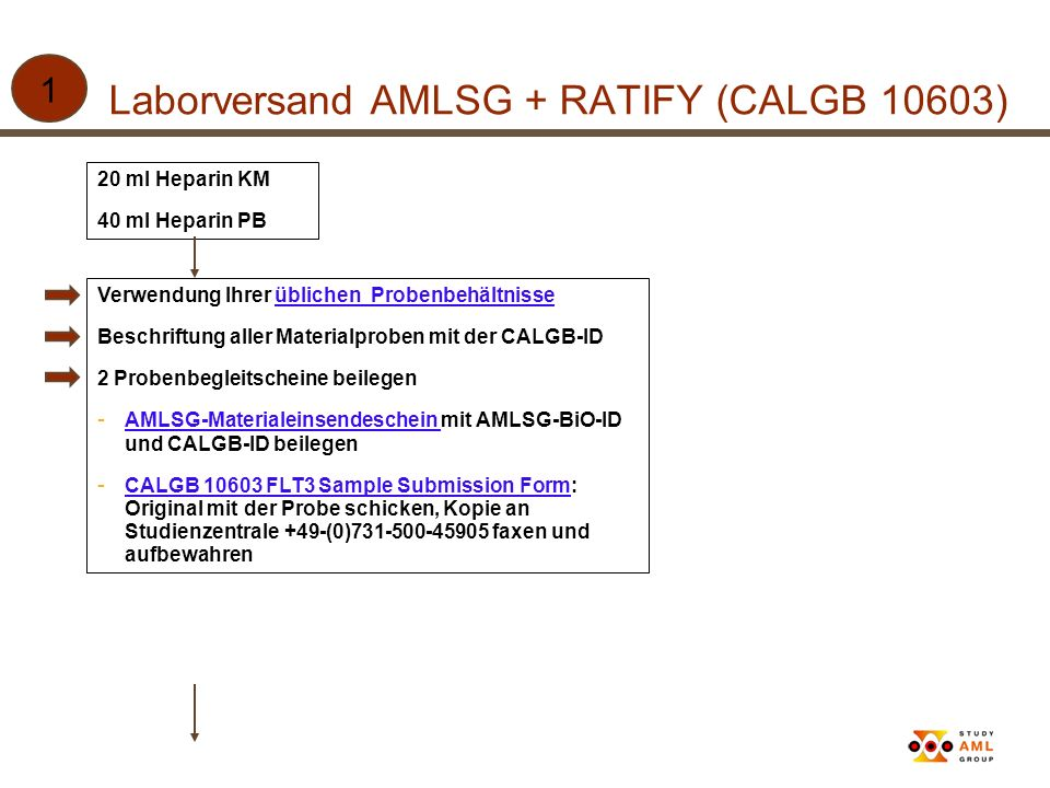 Laborversand AMLSG + RATIFY (CALGB 10603)