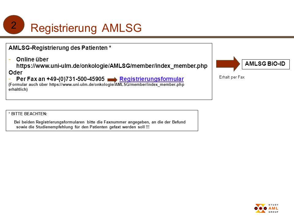 Registrierung AMLSG 2 AMLSG-Registrierung des Patienten * Online über