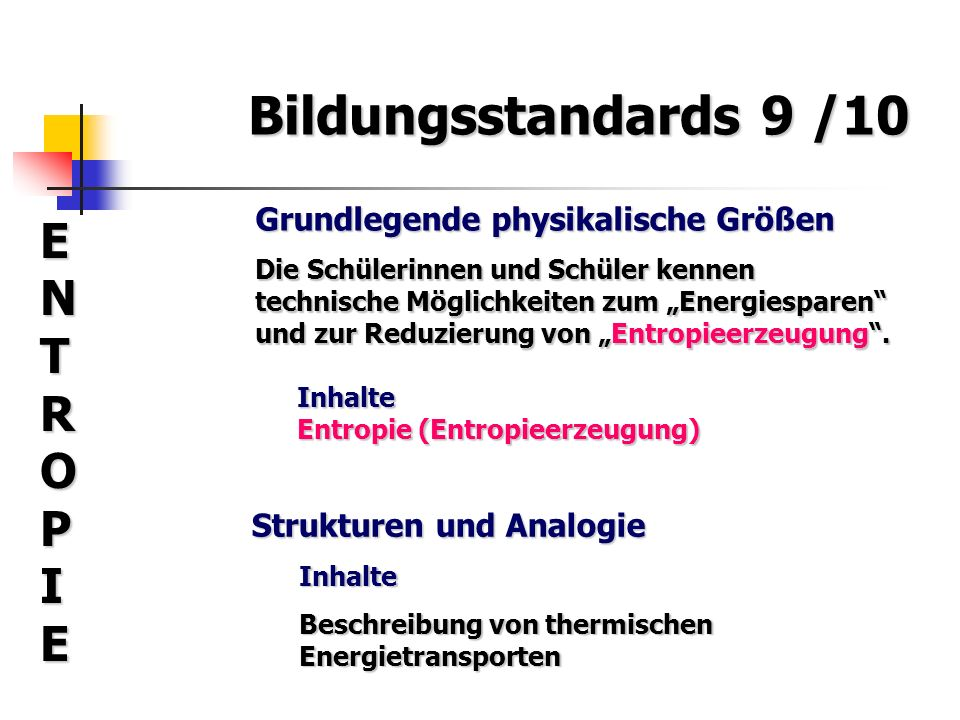 Bildungsstandards 9 /10 ENTROPIE Grundlegende physikalische Größen