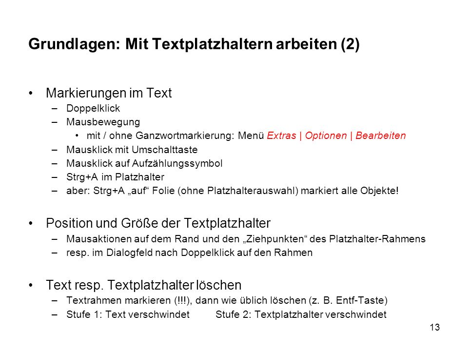 Grundlagen: Mit Textplatzhaltern arbeiten (2)