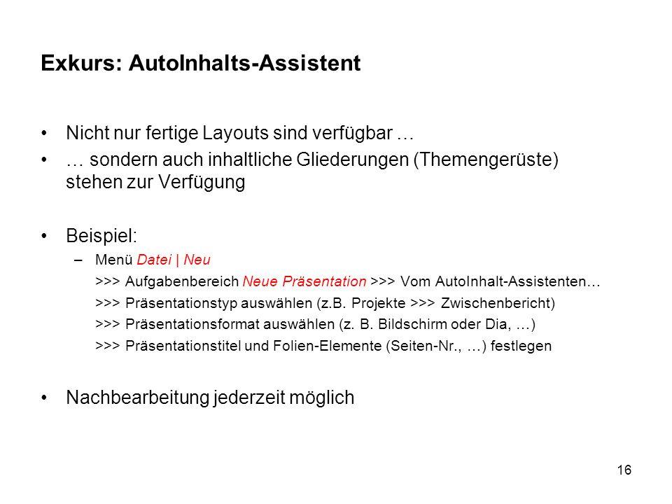 Exkurs: AutoInhalts-Assistent
