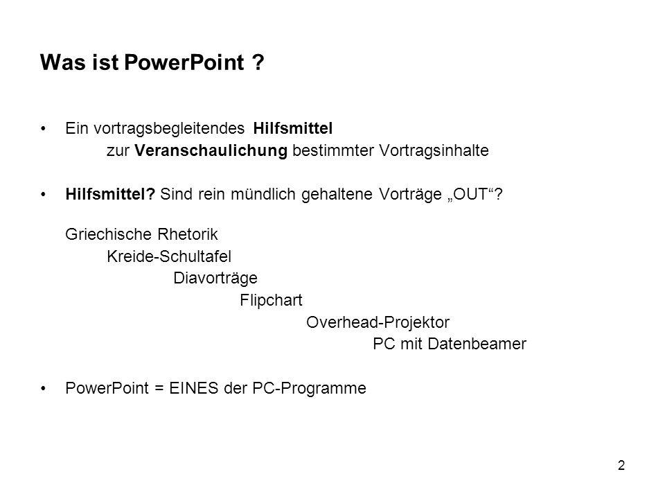 Was ist PowerPoint Ein vortragsbegleitendes Hilfsmittel