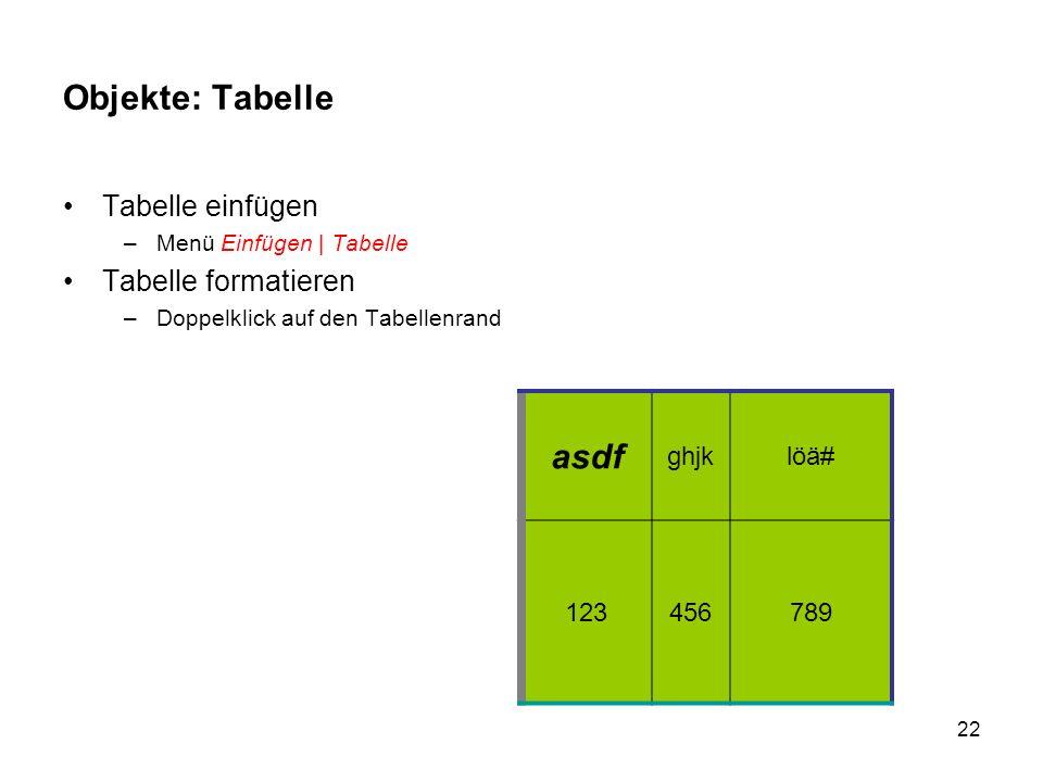 Objekte: Tabelle asdf Tabelle einfügen Tabelle formatieren ghjk löä#