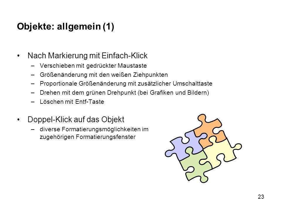 Objekte: allgemein (1) Nach Markierung mit Einfach-Klick