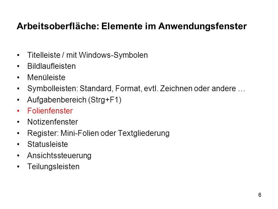 Arbeitsoberfläche: Elemente im Anwendungsfenster